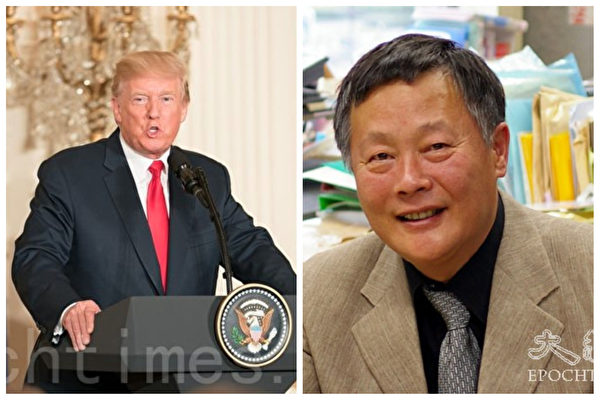 左為美國總統川普,右為魏京生 (大紀元合成)