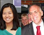 波士頓市議長吳弭(左)高票連任,費連(右)當選華埠所在的第二選區市議員。(大紀元)