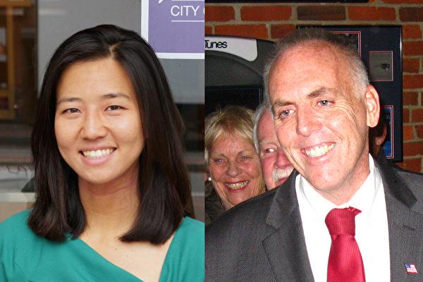 波士顿市议长吴弭(左)高票连任,费连(右)当选华埠所在的第二选区市议员。(大纪元)