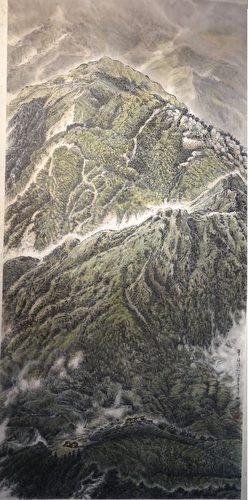 楊松烽的「翠綠河山」(水墨)(曾晏均翻攝/大紀元)