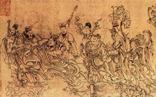 """《八十七神仙卷》局部。相传是""""画圣""""唐代吴道子的白描人物作品。(公有领域)"""