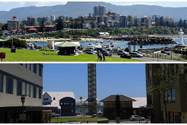 Wollongong(上)價格下跌1.9%,與悉尼相當,而Newcastle(下)的中位房價在第三季度裡下跌了2.5%。(簡沐/大紀元/合成)