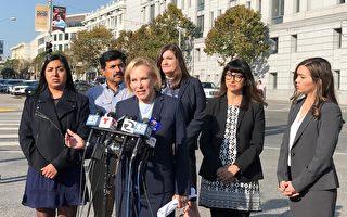 律師亞歷山大(Mary Alexander)代表索諾馬縣紅木谷(Redwood Valley)的3個家庭,向舊金山高等法院正式起訴太平洋瓦電公司PG&E。(李文淨/大紀元)