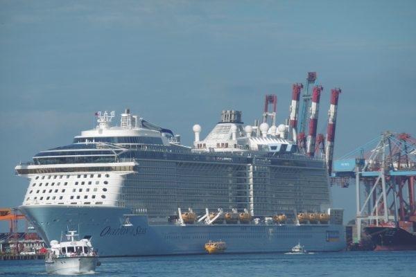 亞洲最大郵輪「海洋讚禮號」11月10日首航台灣基隆港。(陳秀媛/大紀元)