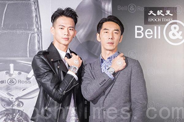 吴念轩(左)、李李仁(右)11月14日在台北出席名表活动走秀。(陈柏州/大纪元)