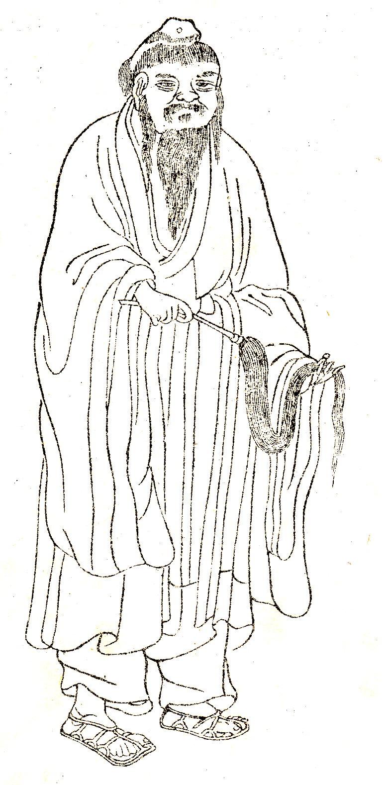 唐道士 司马承祯(晩笑堂竹荘画传)。(公有领域)
