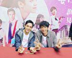 電影《帶我去月球》即將在台灣上映,劇中主演李銓(左起)、劉以豪到南台灣宣傳。(星泰娛樂提供)