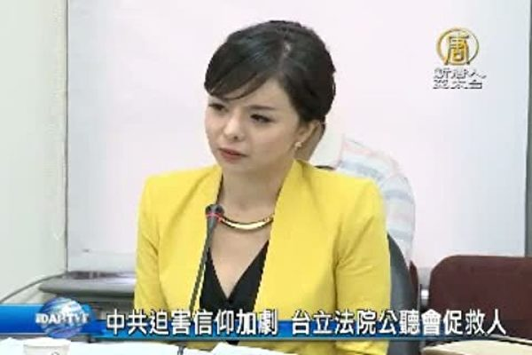 2015年9月8日,加拿大世姐林耶凡在台灣立法院作證,盼台為中國人權發聲。(新唐人電視台)
