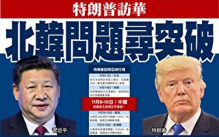 美国总统川普将于11月5日至14日出访亚洲五国,当中以8日到10日的首次访问中国,最受外界瞩目。外界预料中美双方重点讨论朝鲜以及贸易问题。(大纪元合成图)