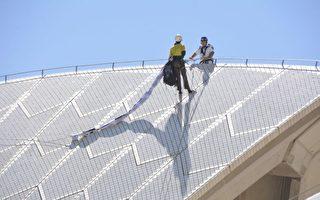 難民維權人士爬上了悉尼歌劇院的帆頂,遭警察制止。(WACA提供)