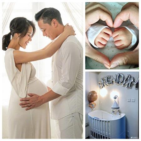 胡杏儿10月8日分享与先生李乘德拍摄的孕照(左),几天后传来顺产诞下儿子的好消息(右上),全家人一起为孩子布置的婴儿房。(胡杏儿微博/大纪元合成)