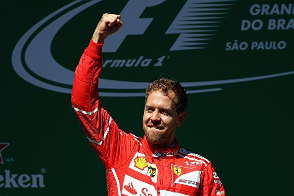 F1巴西站,法拉利車手維特爾奪得本賽季個人第5個分站冠軍。 (Clive Mason/Getty Images)