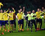 瑞典客场0:0战平意大利,以两回合总比分1比0成功获得了俄罗斯世界杯参赛资格。 (MARCO BERTORELLO/AFP/Getty Images)