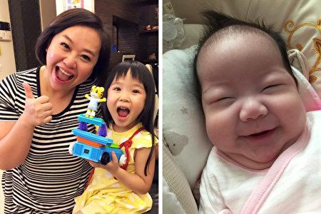 钟欣凌婚后育有两个女儿,如今已有丰富的育儿心得。。(钟欣凌脸书/大纪元合成)