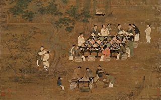 宋徽宗文会图。画中的文人正在花园中饮宴。(公有领域)