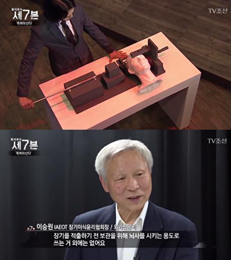 原發性腦幹損傷撞擊機」是為了獲得完整的器官,讓人瞬間進入腦死亡狀態的中國開發的殺人裝置(照片=TV朝鮮「調查報道7」截圖)