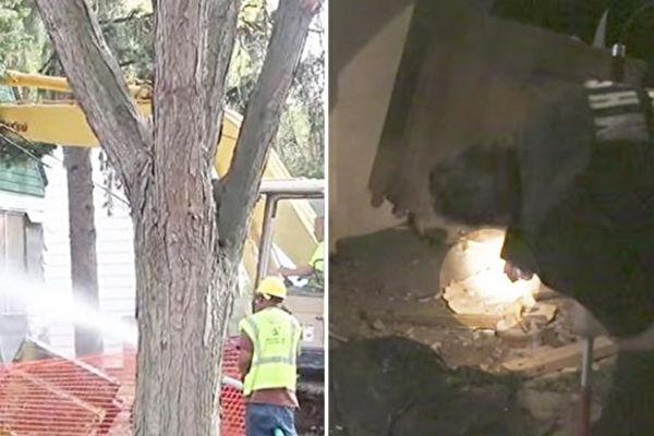 美國密西根州的一處房子正要進行爆破,這時一陣聲從廢棄的房屋中傳出來......(影片截圖/大紀元合成)