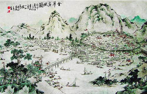 清 吕焕章 《金华府城图》。(公有领域)