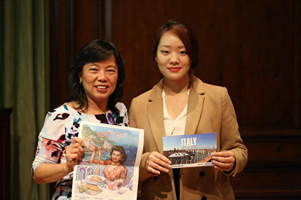 旅遊業工作者Sharon Chan(左一)和林夢露。(謝雲良/大紀元)