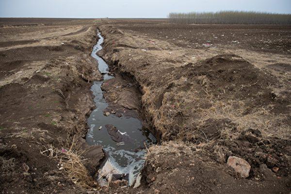 2016年5月3日,黑龙江省甘南县一家奶牛场向附近的田地排放污水。(HANCOCK (NICOLAS ASFOURI/AFP/Getty Images)
