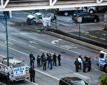 週二(10月31日),29歲的塞弗洛‧賽波夫(Sayfullo Saipov)在紐約曼哈頓駕駛一輛皮卡車衝上哈德遜河旁一條擁擠的自行車道,橫衝直撞,造成8人死亡、11人受傷。    ( DON EMMERT/AFP/Getty Images)