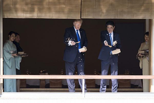 川普和安倍一起餵魚。(JIM WATSON/AFP/Getty Images)
