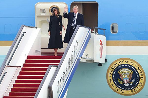 11月8日下午川普一行抵達北京,展開對中國的國事訪問。(Lintao Zhang/Getty Images)