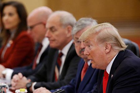 11月9日,习近平与川普在人民大会堂举行会谈。 (Thomas Peter-Pool/Getty Images)