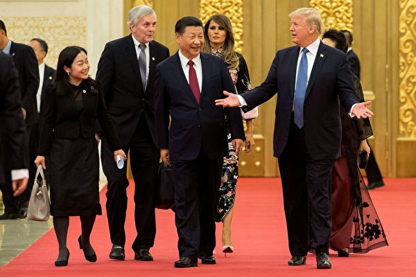 根據蒂勒森的新聞稿,川普和習近平除了討論了朝鮮和貿易外,還提到了人權。(JIM WATSON/AFP/Getty Images)