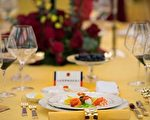 """A plate of food is seen during a state dinner for US President Donald Trump hosted by China's President Xi Jinping in the Great Hall of the People in Beijing on November 9, 2017. Donald Trump urged Chinese leader Xi Jinping to work hard and act fast to help resolve the North Korean nuclear crisis during talks in Beijing Thursday, warning that """"time is quickly running out"""". / AFP PHOTO / Jim WATSON        (Photo credit should read JIM WATSON/AFP/Getty Images)"""