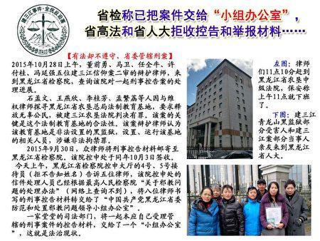 被建三江青龙山洗脑班非法羁押、遭受酷刑折磨的部分法轮功学员于2015年9月,依法向检察院等机构对施暴机构提起诉讼。包括最后一位走出洗脑班的蒋欣波(右二)(大纪元资料库)