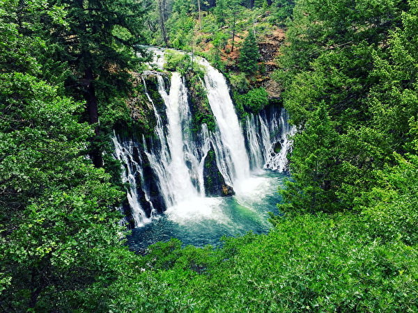 美西名勝,伯尼瀑布(Burney Falls)。(張又天/大紀元)