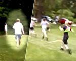11岁脑瘫男孩长跑400米,跑得非常艰难,教练的一个举动让全场鼓掌。(视频截图/大纪元合成)