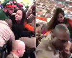 女球迷喝醉酒看球撒酒疯,在警察试图带她出球场时,她竟出手掌掴警察,被警察一拳击倒。(视频截图/大纪元合成)