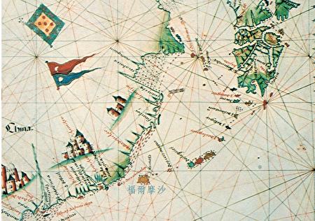 """1600 年葡萄牙人绘制的海图,其中""""福尔摩沙""""应是指冲绳。(资料来源/《解码台湾史 1550-1720 》,翁佳音、黄验提供)"""