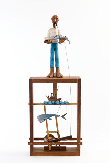 展品通过木头和绳线的传送,使木偶进行活动。(主办方提供)