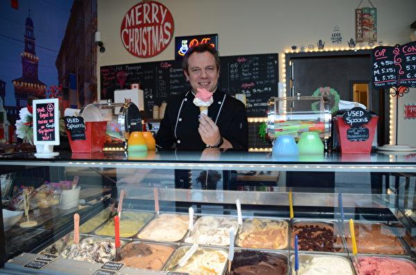 意大利冰淇淋店Nuvola Gelato的老闆Giorgio Barassi先生及他的冰淇淋。