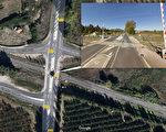 12月14日週四,法國時間下午4時左右,一輛大區列車(TER)與一輛東比利牛斯省(Pyrénées-Orientales)米拉鎮(Millas)的校車相撞。目前已知事故造成4名兒童死亡,24人受重傷。圖為事故發生的交叉口在谷歌地圖上的位置。(大紀元製圖)