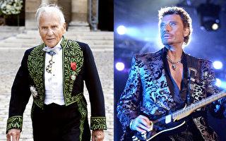 12月5日和6日的凌晨,法国两位传奇般人物相继去世。一位是法国文坛名家让·端木松(Jean d'Ormesson)(左),另一位是法国老牌摇滚音乐领头人物乔尼·哈利代(Johnny Hallyday)。(大纪元合成)