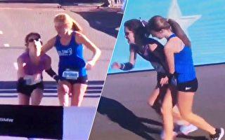 马拉松赛场最感人一幕:17岁女学生帮助对手夺冠