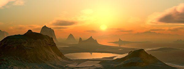 水接云边四望遥。晴日晚霞红霭霭。(pixabay)