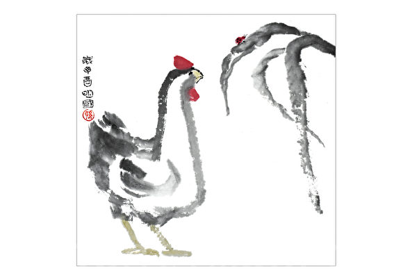 彩墨画公鸡和甲虫——甲虫对公鸡说:谁先动谁就输
