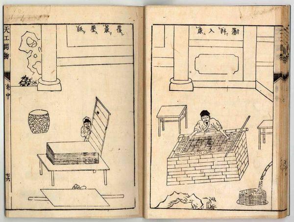《天工開物》所載中國古代造紙術流程,此圖為蕩料入簾、覆簾壓紙。(公有領域)