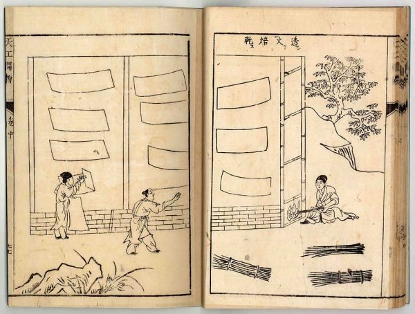 《天工開物》所載中國古代造紙術流程,此圖為透火焙乾。(公有領域)