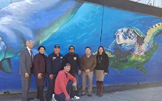 塗鴉牆變身海洋壁畫 休斯頓東區美化市容