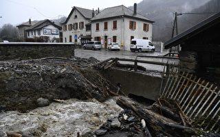 2018年1月4日(週四),埃莉諾(Eleanor)風暴在法國東南部造成的洪水。(PHILIPPE DESMAZES/AFP/Getty Images)