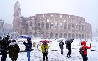 组图:欧洲低温创纪录 罗马6年来首降雪