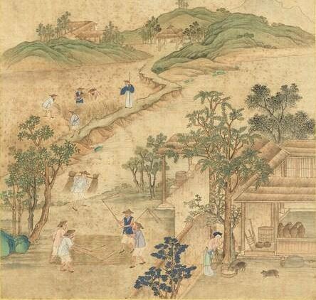 胡御史曾跟纪晓岚讲过一个老翁和一头猪的因果故事。清 张师诚《跋豳风十二月图说.十月获稻》局部,台北国立故宫博物院藏。(公有领域)