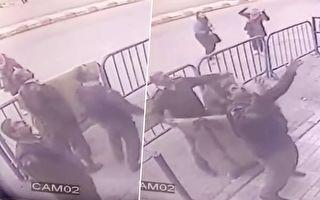 3名警察银行外戒备 突然天降一物 让他们立即行动