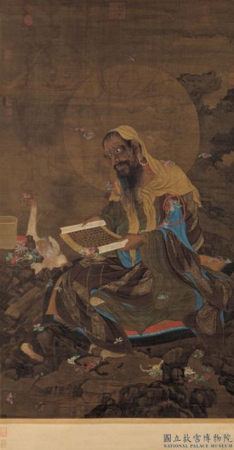 此幅画一梵僧坐石上,神情端凝,宣诵佛经。图为元人《宣梵雨花图》,台北国立故宫博物院藏。(公有领域)